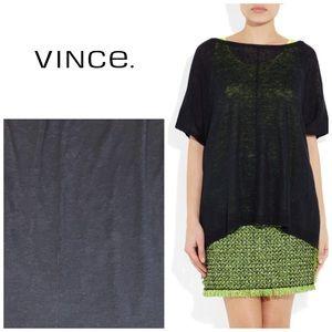 Vince Oversize fine knit linen poncho